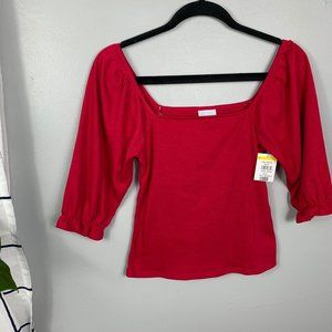 NWT Abound Red Smocked Square Neck Blouse